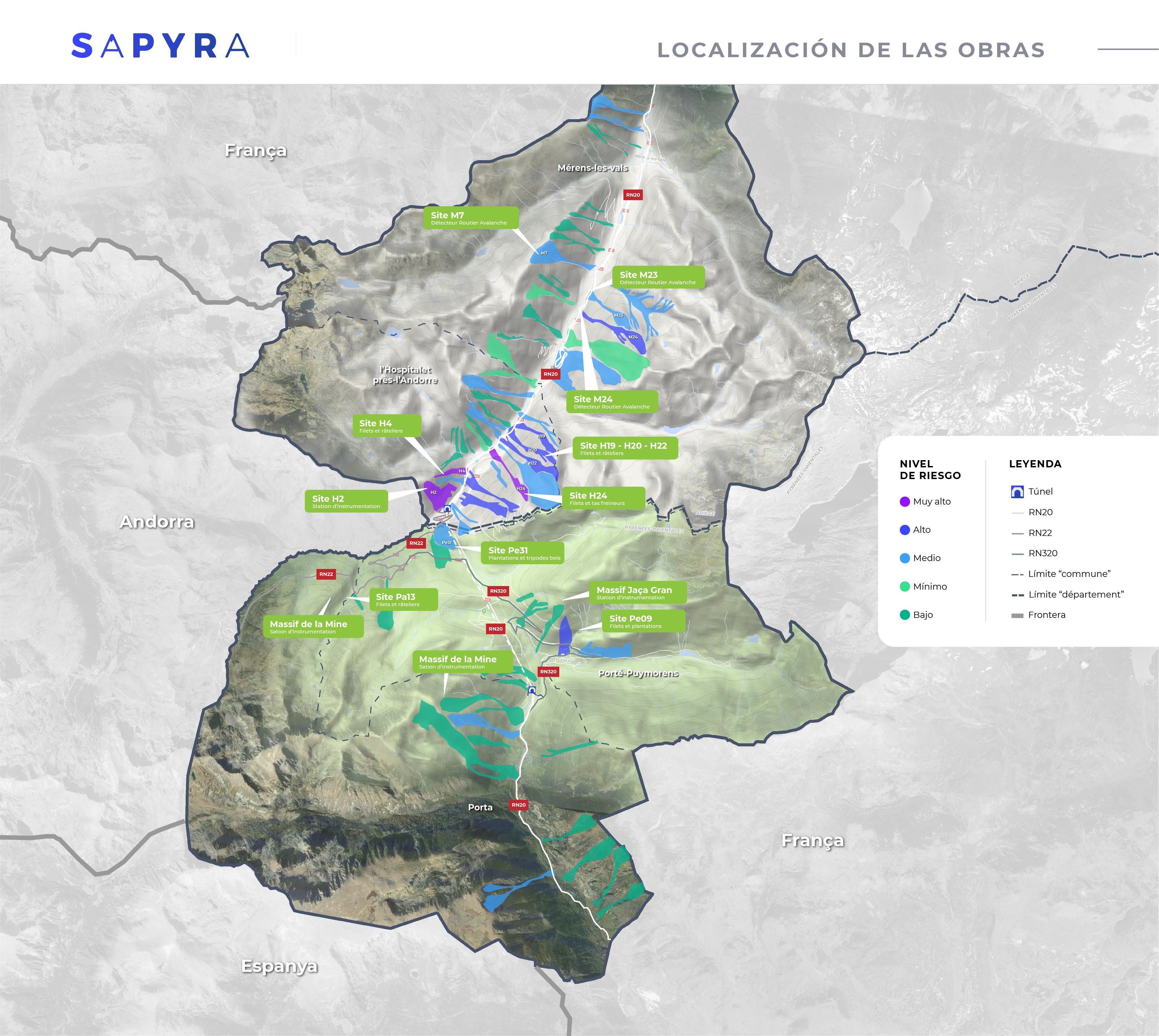 Mapa: localización obras SAPYRA